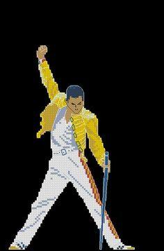 Freddie Mercury cross stitch pattern yellow jacket by LaMariaCha Freddie Mercury, Cross Stitch Designs, Cross Stitch Patterns, Embroidery Stitches, Hand Embroidery, Hama Art, Lego Mosaic, Pixel Art Templates, Brick Stitch