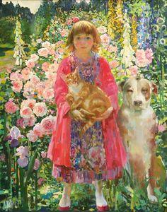 """Summer"" by Olga Suvorova, born 1966 in St Petersburg (then Leninagrad) . Illustrations, Illustration Art, Russian Art, Gustav Klimt, Whimsical Art, Art Plastique, Portrait Art, Portraits, Figurative Art"