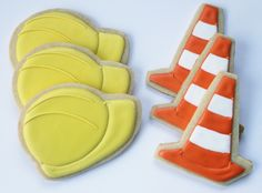 Construction Party Cookies - Hard Hats & Orange Cones