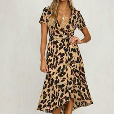 Material: Polyester Style: Sexy & Club Silhouette: Sheath Pattern Type: Leopard Sleeve Length(cm): Full Decoration: Bow Dresses Length: Mid-Calf Sleeve Style: Regular Waistline: Natural Neckline: V-Neck Season: Summer Gender: Women Calf Sleeve, Wrap Dresses, Dress With Bow, Fashion Design, Fashion Tips, Fashion Trends, Sleeve Styles, Women's Clothing, Clothes For Women