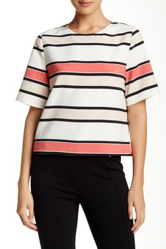 Elbow Sleeve Havana Striped Blouse by Vince Camuto on @HauteLook