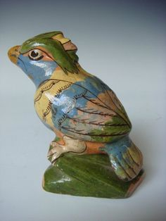 "Very old vintage Mexican Tlaquepaque figure of bird/parrot 4 1/2"" tall"