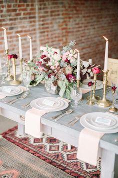 romantic tablescape - photo by FreeHope Photography http://ruffledblog.com/romantic-bohemian-wedding-ideas