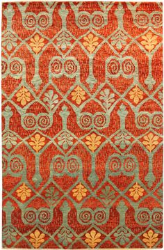 Suzani & Ikat Designs Gallery: Ikat Design Rug, Hand-Knptted in India; size: 8 feet 0 inch(es) x 10 feet 4 inch(es)