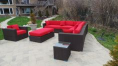 10 x 10 red sectional patio set