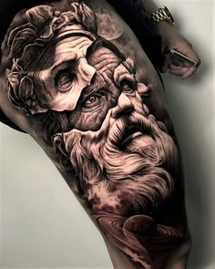 tattoo zeus / tattoo zeus _ tattoo zeus mythology _ tattoo zeus preto e cinza _ tattoo zeus poseidon _ tattoo zeus greek gods _ tattoo zeus design _ tattoo zeus realismo _ tattoo zeus antebraço Zeus Tattoo, Poseidon Tattoo, Statue Tattoo, He Man Tattoo, Sick Tattoo, Skin Tear Tattoo, Realistic Tattoo Sleeve, Best Sleeve Tattoos, Leg Tattoos