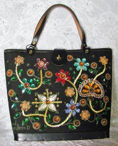 Vintage Enid Collins Black Bucket Handbag. I remember my Grandmother having this handbag!