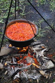Goulash in a cast-iron kettle hung above an open fire.- called bogracsos after the iron kettle - bogracs:))) typical hungarian way to throw a weekend cook-off for family and friends