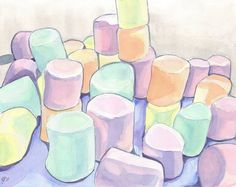 Marshmallows Art, Watercolor Art Print, 11x14 Wall Art, Candy Series no. 6. $20.00, via Etsy.