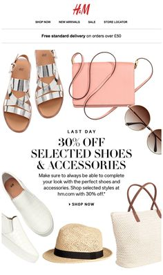 H&M email newsletter - 30% off with product images