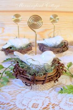 Table Number Holders, Place Card Holders, Wire, Photo Holders, Birds, Nests, Table Numbers, Place Cards, - Set of 4 by Janine07
