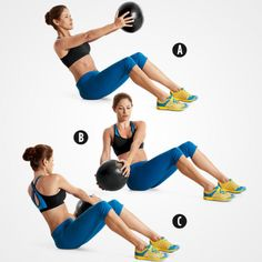 Med Ball Russian Twist http://www.womenshealthmag.com/fitness/abs-exercises-with-weights?slide=3