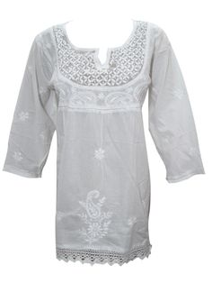 Mogul White Cotton Floral Embroidered Tunic Top Blouse Shirt at Amazon Women's Clothing store:
