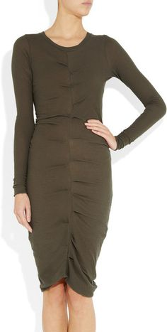 Etoile Isabel Marant Hill ruched cotton-jersey dress in Dark Olive as seen on Kim Kardashian