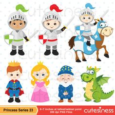 Princess Clipart, Princess Clip Art, Knight Clipart, Knight and Dragon Clipart / INSTANT DOWNLOAD