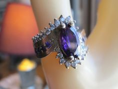 Handcrafted Art Deco 2.44ctw Amethyst & White Sapphire Gold/925 Sterling Silver Ring Sz. 7-3/4, Weight 8 Grams by TamisVintageShop on Etsy