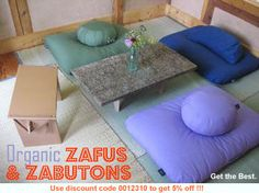 Japanese Living Room Suite combines Zabuton, Zafu, Smile cushion and Peace Bench for group floor seating. Non-toxic and great for tiny house living! Floor Cushion Couch, Big Floor Pillows, Floor Couch, Floor Cushions, Sofa Cushions, Living Room Flooring, Living Room Furniture, Living Room Decor, Meditation Chair