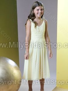 A-line V-neck Chiffon Tea-length Ruched Junior Bridesmaid Dresses -$80.99