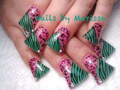 Leopard Flared Acrylic nail art #by Marissa