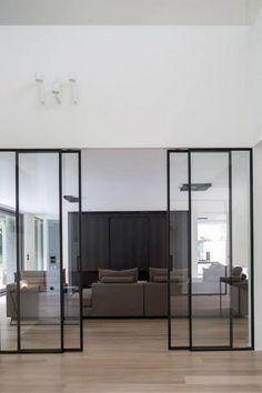 Sliding doors are also practical and now very popular. For you who have small spaces at home, sliding doors are a perfect choice. Here are some sliding doors ideas for your beautiful home. Check these out Interior Architecture, Interior And Exterior, Exterior Doors, Casa Loft, Steel Doors, Deco Design, Design Trends, Cheap Home Decor, Windows And Doors