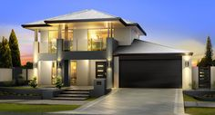 If you are looking for two storey arkana style homes, take a look at these unique and modern two storey homes designs. We offer wide range of 2 storey homes in Perth Two Story House Design, 2 Storey House Design, House Front Design, Modern House Design, Home Design, Design Ideas, Render Architecture, Double Storey House, Beautiful House Plans