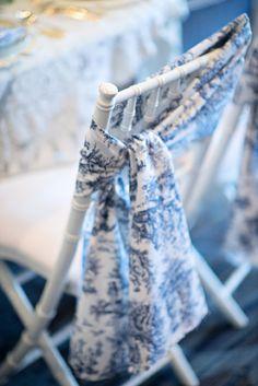 Blue toile wedding chair decor / Kristen Weaver Photography
