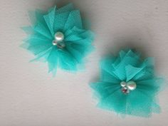 Teal tulle bow - 2 Teal tulle flowers clip on alligator clips - girl teen women child infant toddler wedding birthday boutique shabby chic Ask a Question    $5.00