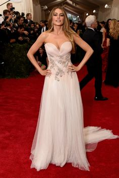 Pin for Later: 50+ Iconic Met Gala Dresses Worn by Latinas Sofia Vergara The Modern Family actress could have worn this gorgeous blush Marchesa dress at her wedding after walking the 2015 red carpet.