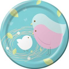 "Super cute! For Boy or girl baby shower....7"" Nesting Birds snack plates matching the Nesting Birds Shower theme.  Perfect for appetizers, snacks, and cake.  Sold in quantities of 8."