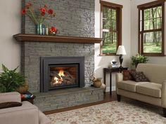 Quickly and easily replace your wood fireplace with a new gas insert. Enjoy controllable heat at the push of a button; Pellet Stove Inserts, Insert Stove, Gas Insert, Gas Fireplace Inserts, Fireplace Gallery, Fireplace Design, Fireplace Ideas, Fireplace Pictures, Fireplace Update