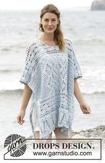 """Graceful Mermaid - Poncho ajouré DROPS au crochet, réalisé de haut en bas, en """"Cotton Merino"""". Du S au XXXL. - Free pattern by DROPS Design"""