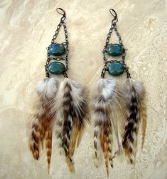 Beaded Feather Earrings  Chain Earrings Tribal by peacefrogdesigns, $22.10