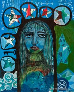 Intuitive mixed media painting   Contemporary primitive art   Neo-Outsider   Primitive surrealism  75 x 60 cms