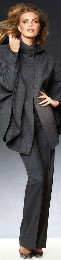 GRAY, SLATE & SILVER FASHION ~ Madeleine Wool Cape