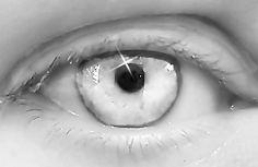 creepy black and white eye