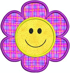 applique embroidery designs to download | Applique Smiley Face Flower Machine Embroidery Design Instant Download ...