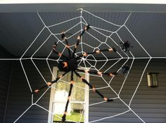 13 Spooky Halloween Spider Web Decorations — make large outdoor spider web out…