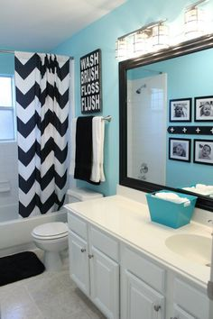 White, Black And Turquoise Bathroom Makeover On { . White, black and turquoise bathroom makeover on { lillunacom black and white bathroom decor - Bathroom Decoration Bathroom Kids, Bathroom Wall, Kids Bath, Bathroom Colors, Bathroom Theme Ideas, Teenage Bathroom Ideas, Bathroom Inspiration, Bathroom Storage, Teal Bathroom Decor