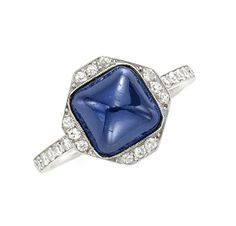 FD GALLERY | Rare & Vintage | An Art Deco Cabochon Sapphire and Diamond Ring, circa 1920