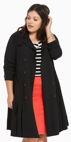 ea35d954a4683 Plus Size Swing Trench Coat Plus Size Trench Coat