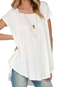 White With Lace High Low Short Sleeve T-shirt