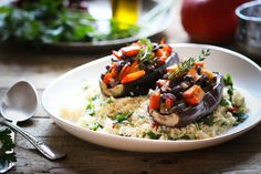"""Eggplant filled with Black Beans & Pumpkin, with Spicy Couscous - For Low Carb, use Cauliflower """"Rice"""" instead"""