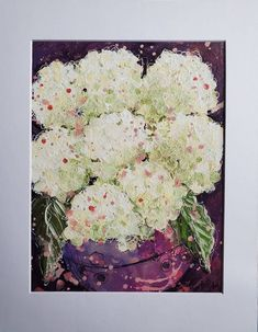Painting Collage, Mixed Media Painting, Mixed Media Collage, Collage Art, Hydrangea Painting, Cute Thank You Cards, White Hydrangeas, Acrylic Canvas, Gel Pens