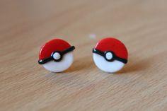 Charming Clay Creations: Pokemon Ball Stud Earrings - £4.00