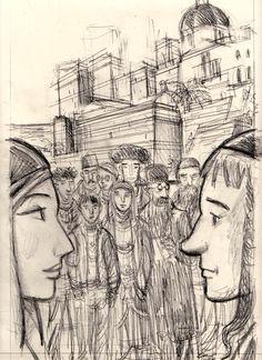 matite per il manifesto stradale dell'edizione 2012 del festival Nues dedicato al fumetto mediterraneo. Autori dall'Egitto, Palestina e Israele per un'annata eccezionale.