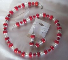 Red Coral and White Fresh Water Pearl Necklace and Earring Set | 123gemstones - Jewelry on ArtFire