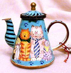 Funny Cat Family in Ties Hinged Miniature Enamel Teapot By Kelvin Chen