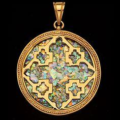 Roman Glass Jewelry gold | 14K Gold and Roman Glass Jerusalem Cross Pendant