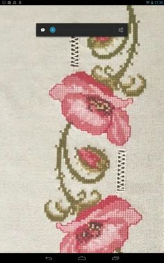 This Pin was discovered by Gün Embroidery Stitches, Embroidery Patterns, Hand Embroidery, Cross Stitch Borders, Cross Stitch Patterns, Baby Dress Patterns, Ribbon Work, Poppies, Diy And Crafts