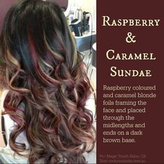 Fun and sassy hair styles. brown with red/blonde highlights Blonde With Red Highlights, Blonde Foils, Red To Blonde, Brown Blonde Hair, Hair Color Highlights, Brunette Hair, Caramel Highlights, Red Foils Hair, Carmel Blonde